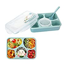 Kaimao Bento Boxes Leakproof Microwave and Dishwasher Safe Lunch Boxes with 5+1 Separated Containers (Blue)