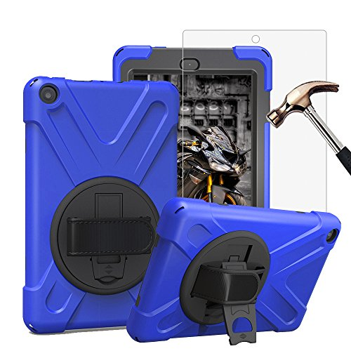 Gzerma Fire HD 8 Case with Screen Protector 2017, 3in1 [Kid Proof] [Shock Proof] Rugged Heavy Duty Defender Protective Cover, Kickstand, Hand Strap for Amazon Fire HD8 Tablet 7th Generation, Blue 2