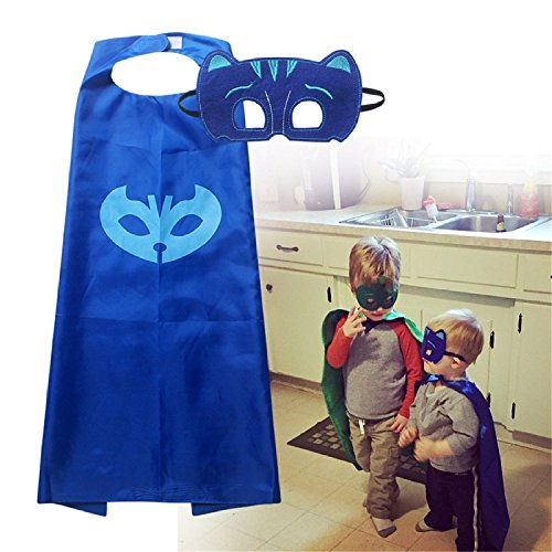 PJ Masks Costumes For Kids Catboy Owlette Gekko Mask with Cape (27.5 inches) (Blue) (Cupcake Halloween Costume For Toddler)