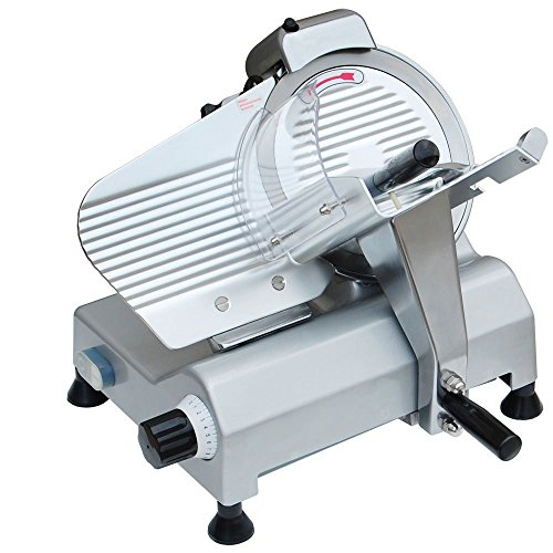 Professional 10 Inches Stainless Steel Blade Cut Commercial Electric Equipment Kitchen Home Cook Meat Slicer Butcher Food Slicer 0-17 Mm Cutter 240W by Generic