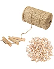 PHOLSY Jute Twine Christmas Packing String,100pcs 3.5cm Mini Wooden Clips Pegs Clothespins and 328 Feet Jute String 3Ply Jute Rope for Photos Paper Wall, Gifts, DIY, Arts Crafts, Weddings & Events