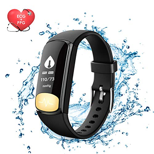 Fitness Tracker Watch, Uten Smart Activity Bracelet with Dynamic Blood Pressure and Heart Rate 24 hrs Monitor, IP67 Waterproof, Body Fat, Calorie Counter, Pedometer Watch for Kids Women Men?ECG+PPG?