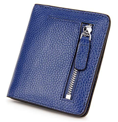 (BIG SALE-AINIMOER Women's RFID Blocking Leather Small Compact Bifold Pocket Wallet Ladies Mini Purse with id Window (Blue))