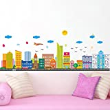 Wallpark Cartoon Colorful City House Buildings Removable Wall Sticker Decal, Children Kids Baby Home Room Nursery DIY Decorative Adhesive Art Wall Mural