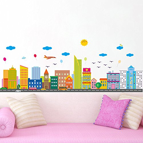 Wallpark Cartoon Colorful City House Buildings Removable Wall Sticker Decal, Children Kids Baby Home Room Nursery DIY Decorative Adhesive Art Wall Mural by Wallpark