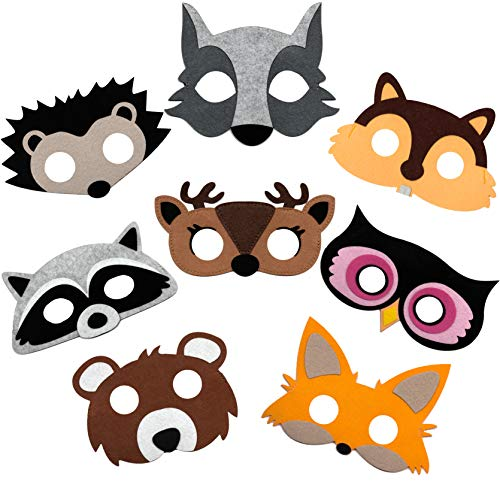 Woodland Animal Masks for Kids Party - 8 Felt Masks, Great for Forest Themed Birthday Parties, Novelty Dress-up and Halloween -