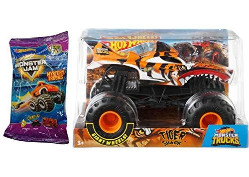 Hot Wheels Tiger Crew Mega Monster Jam Big Action Yellow & Black Striped Shark Truck & Series 4 Mini Monster Truck with Launcher