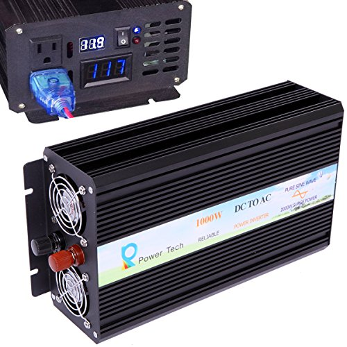 WZRELB 1000W 12V off Grid DC to AC Pure Sine Wave Solar Power Inverter Home Power Supply Generator (1000W 12V) by WZRELB