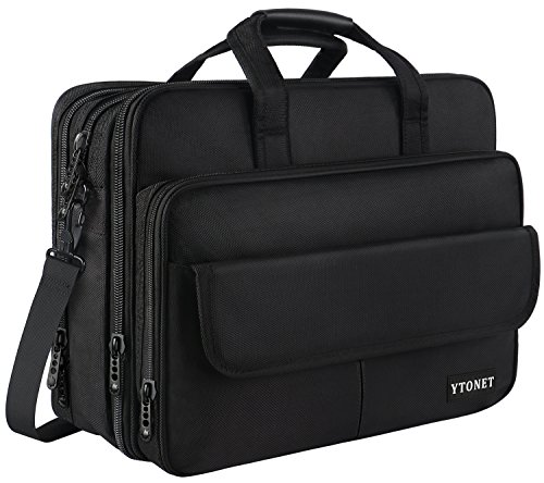 (Mens Briefcase, 17 inch Laptop Bag, Expandable Large Capacity Computer Bag for Women & Men,Oxford Nylon Fabric Shoulder Bag, Water Resistant Durable Messenger Bag Case For HP DELL 15.6 in Laptop Black)