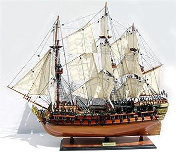 Maqueta de barco de madera, barco Hms Bellona de 1760, 64 cm ...
