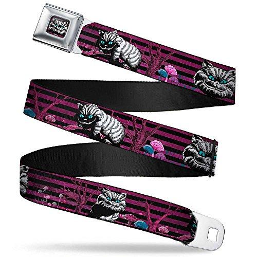 Buckle-Down Seatbelt Belt - Cheshire Cat Face/Poses Stripe Purple/Black/White - 1.5