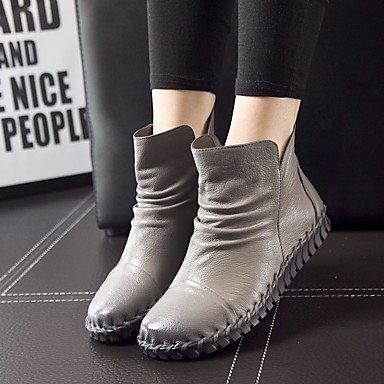 La mujer Confort Botas de cuero pu Primavera confort informal marrón burdeos gris plana negra Gray