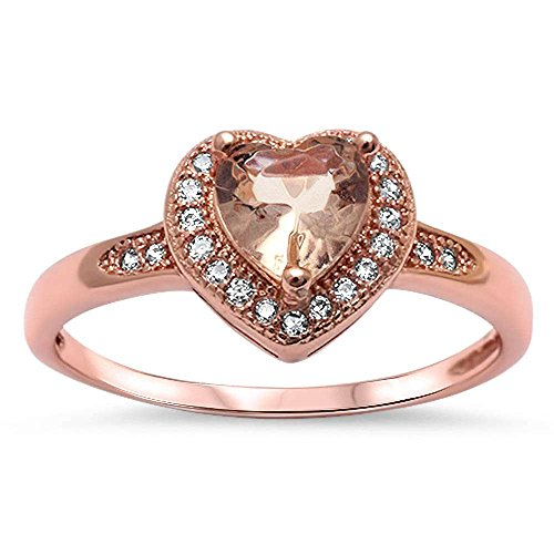 Heart Simulated Morganite   Cubic Zirconia Promise Engagement  925 Sterling Silver Ring Size 6