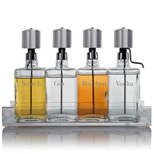 Liquor Decanter Bar Set with Chrome Pump Dispensers and Acrylic Tray