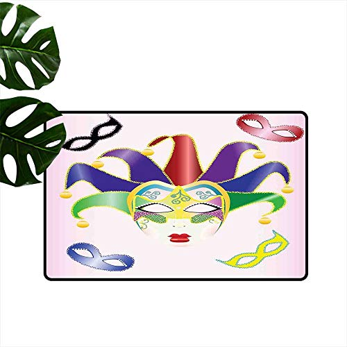 PEONIY&HOME Masquerade,Durable Rubber Door Mat Abstract Style Illustration of Christmas Carnival Masks Jester Design Print Non Slip Door Mat for Front Door W 20
