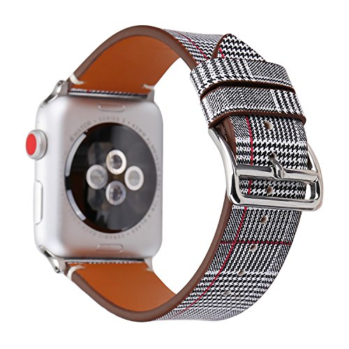 WONMILLE for Apple Watch Band 38mm 42mm, Houndstooth Pattern with Genuine Leather iWatch Strap Replacement for Apple Watch Nike+ Series 3 Series 2 Series 1 Hermes&Edition (Red Stripes, 38mm)