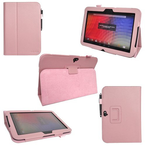 i-design Google Nexus 10 Premium PU Leather Case with Flip Stand Support, Stylus holder and Wake/Sleep Function (Google Nexus 10, Light Pink)