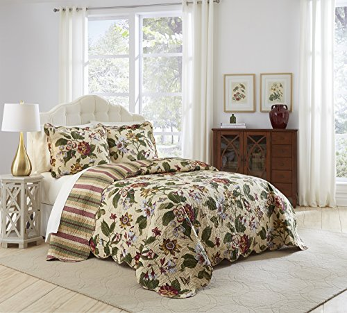 Waverly Laurel Springs Bedspread Collection, 110x120, Parchment - Waverly Spring