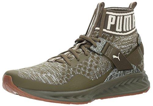Puma Mens Ignite Evoknit Hypernature Sneaker  Olive Night Birch White  9 5 M Us