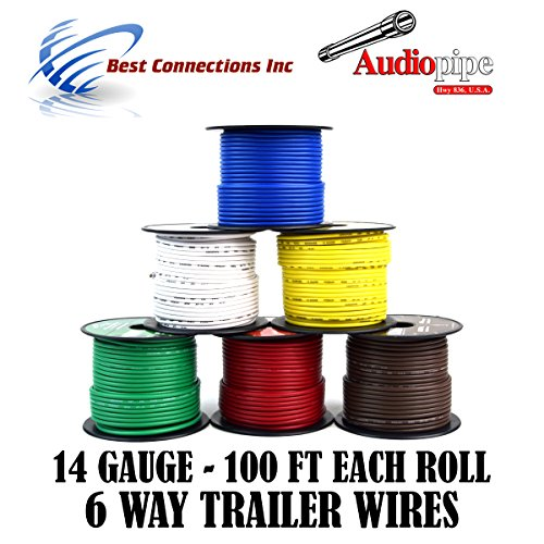 Light Cable Spools (Trailer Light Cable Wiring For Harness 100ft spools 14 Gauge 6 Wire 6 colors)