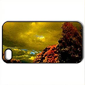 AUTUMN ROAD - Case Cover for iPhone 4 and 4s (Watercolor style, Black)