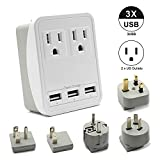 Outtag Worldwide Travel Power Adapter Kit w/Surge Protector 2-USA Outlets 3-USB Ports AC Wall Charger EU US UK AU Asia Plugs for Laptops iPhone Smartphones & More Dual Voltage Devices, Gift Pouch