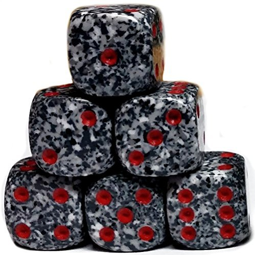 Custom & Unique {Smaller 12mm} 6 Ct Pack Set of 6 Sided [D6] Square Cube Shape Playing & Game Dice w/ Rounded Corner Edges w/ Metallic Splatter Confetti Stone Multi ()