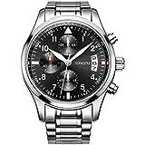 SONGDU Quartz Date Military Multifunction Chronograph Mens Watches Stainless Steel Luminous Numerals Black Dial