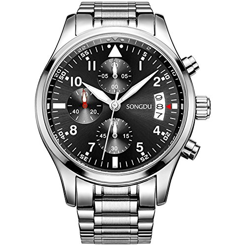 SONGDU Quartz Date Military Multifunction Chronograph Mens Watches Stainless Steel Luminous Numerals Black Dial (Silver Mens Chronograph)