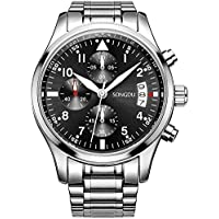 SONGDU Quartz Date Military Multifunction Chronograph Mens Watches Stainless Steel Luminous Numerals Black Dial