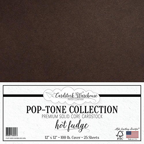HOT Fudge Brown Cardstock Paper - 12 x 12 inch 100 lb. Heavyweight Cover - 25 Sheets from Cardstock Warehouse -