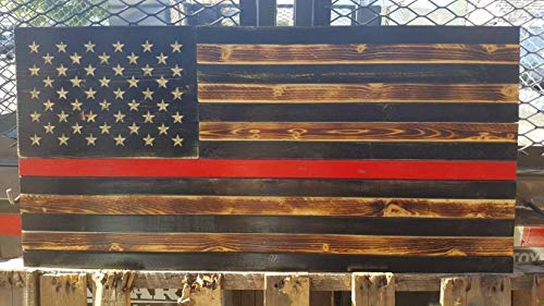 weewen Thin Red Line Wood Flag Rustic Firefighter Hand Printed Stars Stained Distressed Burned Graduation Academy Retirement Gift Fireman Paramedic Plaque Hanging Sign Housewarming -