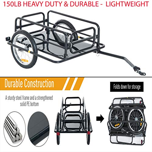 Best Review Of 150lb Heavy Duty & Durable Steel Frame Bicycle Bike Cargo Trailer Luggage Cart Carrie...