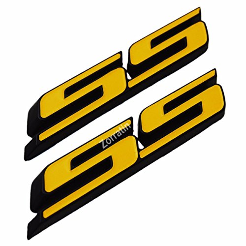 (Set of 2) Slant SS Grill Side Fender Trunk Emblem Badge Decal with Sticker for Chevy IMPALA COBALT Camaro 2010 2011 2012 2013 2014 2015 2016 2017 [Yellow letter with black outline] (Emblem Trunk Plastic)