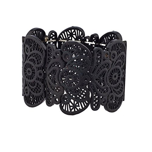 Lux Accessories Black Filigree Metal Textured Stretch Statement - Large Rhinestone Stretch Bracelet