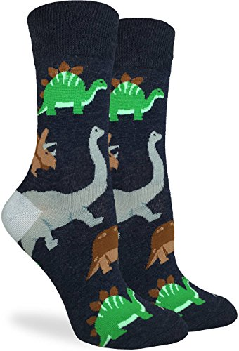 Dinosaur Socks (Good Luck Sock Women's Jurassic Dinosaurs Crew Socks - Black, Adult Shoe Size 5-9)