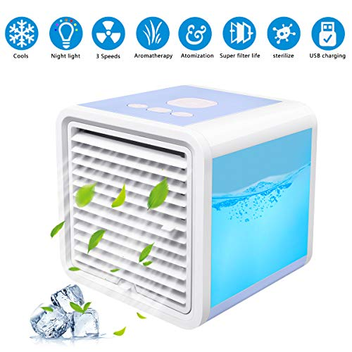 [2019 Upgrade Version] Personal Air Cooler, 3 in 1 Portable Air Conditioner Fan USB Evaporative Coolers with Waterbox Evapolar Humidifier with 7 Colors LED Night Light for Bedroom, Desktop, Office, Ou ()