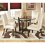 Cheap Ashley Charrell 5 Piece Glass Round Dining Set in Ivory