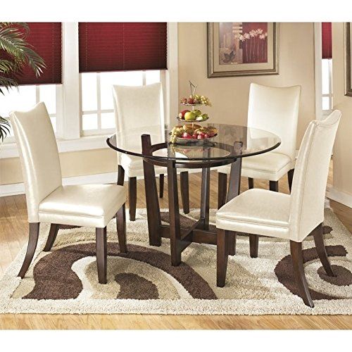 Ashley Charrell 5 Piece Glass Round Dining Set in Ivory ()