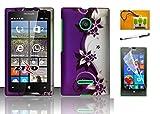 Nokia Lumia 435 (T-Mobile) LF 4 in 1 Bundle, Designer Rubberized Cover Hard Matte Case, Stylus Pen, Screen Protector & Wiper Accessory (Purple Vine)