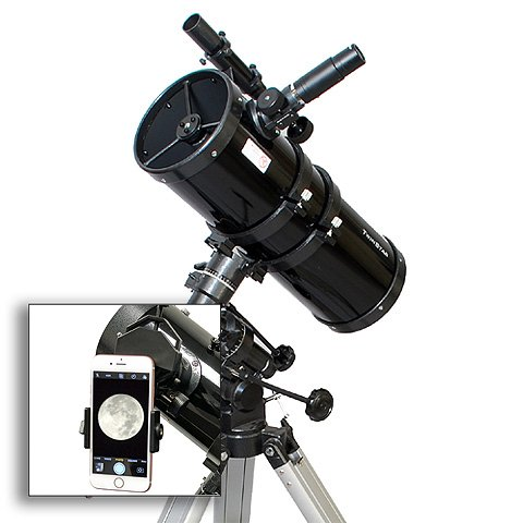 AstroVenture 6'' Short Tube Reflector Telescope With Universal Smartphone Camera Adapter (Black) by Twin Star