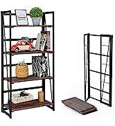 Coavas Folding Bookshelf Home Office Industrial Bookcase No Assembly Storage Shelves Vintage 4 Ti...