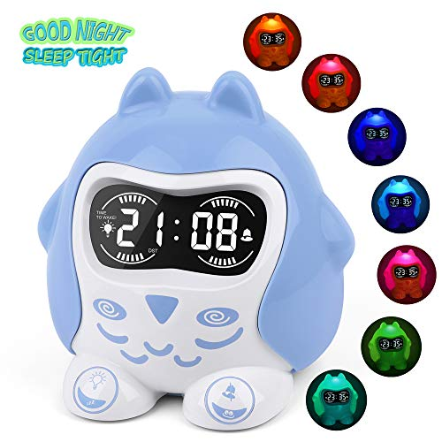 (White Noise Machine, Sleep Soother Sound Therapy with 9 Sounds & Lullaby, 7-Color Night Light, Plug In/Battery Powered, Sleep Training Time to Wake Digital Alarm Clock for Kids Baby Girls Boys Bedroom)