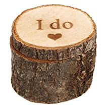 Merssavo 2Pcs Personalised Wooden I do Wedding Ring Box Vintage Wood Finger Ring Holder for Engagement Proposal Marriage