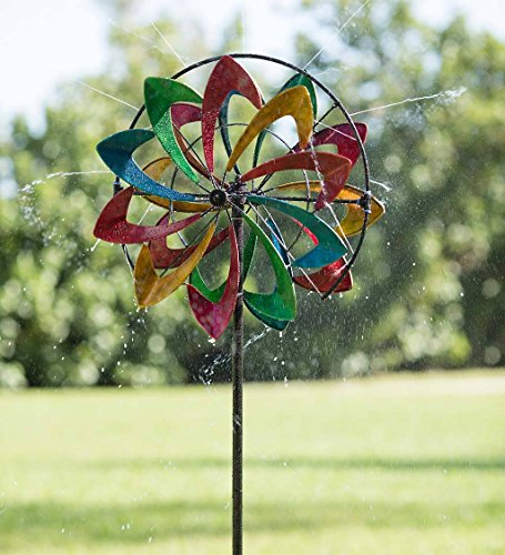 Hydro Flower Blossom Garden Wind Spinner and Water Sprinkler - Decorative Garden Sculpture - 24 Dia. x 10 W x 77 H - Multi-Colored