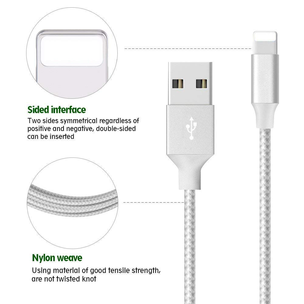 5Pack 3//3//6//6//10FT to Syncing Data and Nylon Braided Cord Charger Compatible with iPhone//XS//XR//X//8//8Plus//7//7Plus//6S//6Plus//iPad More Cinkenyo iPhone Charger Silver/&White MFi Certified Cable
