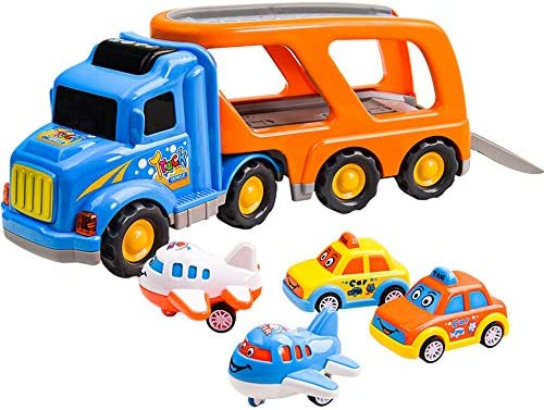 HAOMUK Carrier Toy Truck Transport Car, 5 in 1 Friction Powered Vehicles Playset with Sounds & Bright Flashing Light, Push and Go Toy Mini Cartoon Bus/Taxi/Airplane for 3 4 5 6 Years Old Kids Toddlers