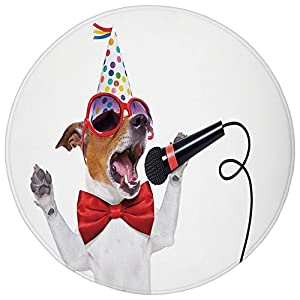 Round Rug Mat Carpet,Popstar Party,Jack Russel Dog with Sunglasses Party Hat and Bowtie Singing Birthday Song Decorative,Multicolor,Flannel Microfiber Non-slip Soft Absorbent,for Kitchen Floor Bathroo