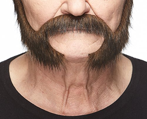 Mustaches Self Adhesive, Novelty, Pedal to The Metal Fake Beard, False Facial Hair, Brown Color