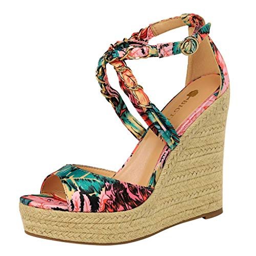 ✶HebeTop✶ Women's High Heel Wedges Fish Mouth Sandals Cross Ankle Strap Casual Shoes Women's Leisure Wedge Sandals ()